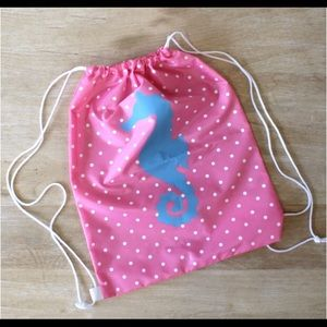 Other - NWT Girls Seahorse Drawstring Backpack. 18 x 14